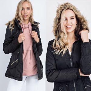 Jackets & Blazers - Black parka statement faux fur detachable hoodie